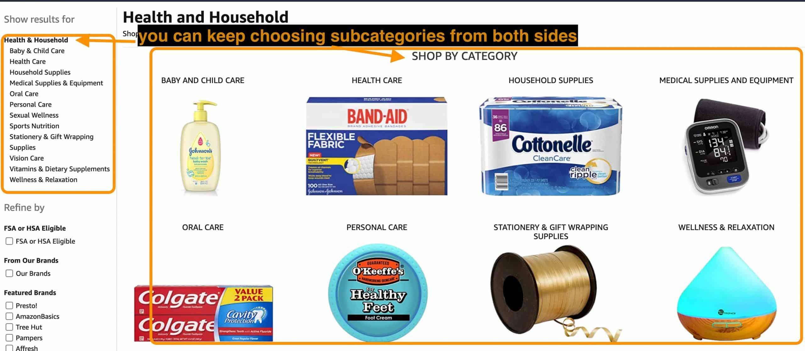 amazon sub-categories