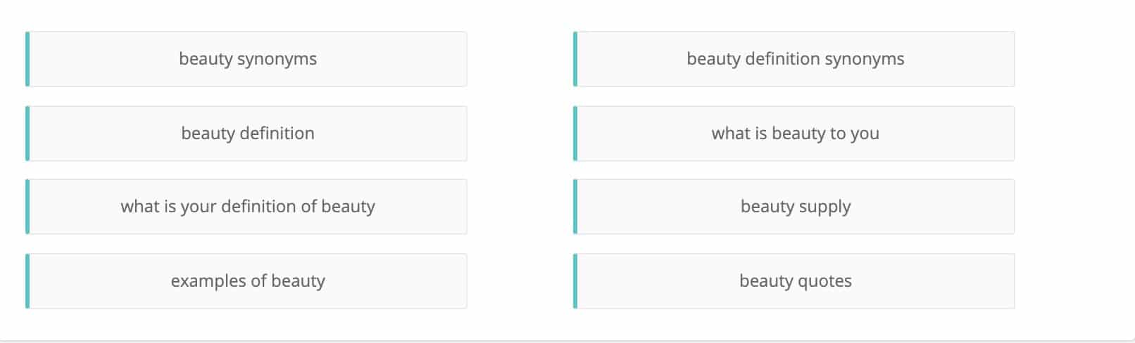 beauty niche related keywords