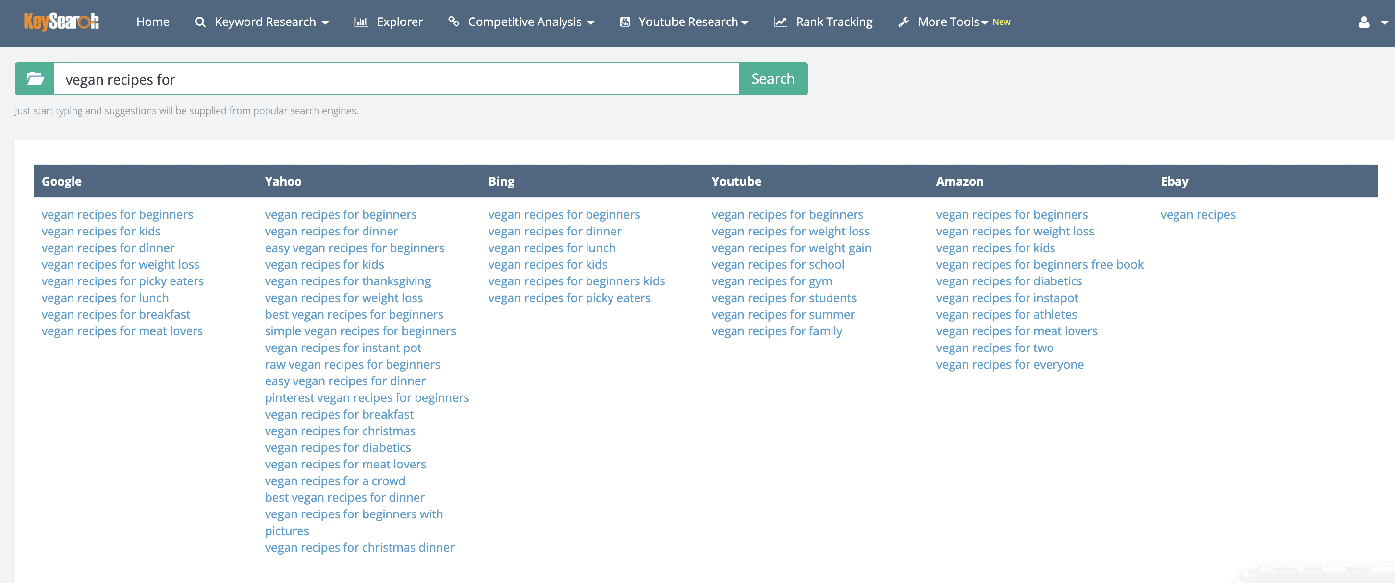 keyword research service brainstorm module