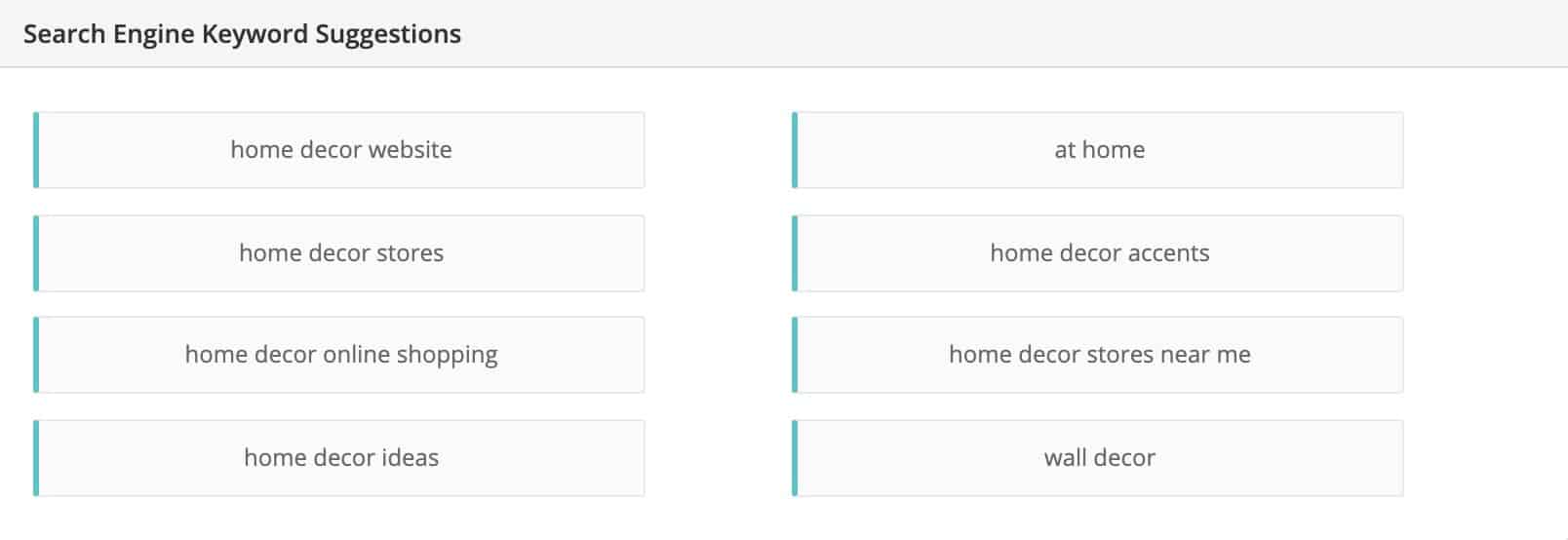 Home Decor niche related keywords