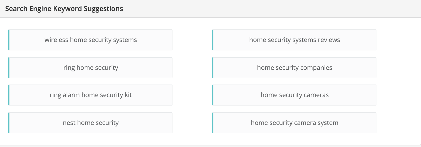 Home Security niche related keywords