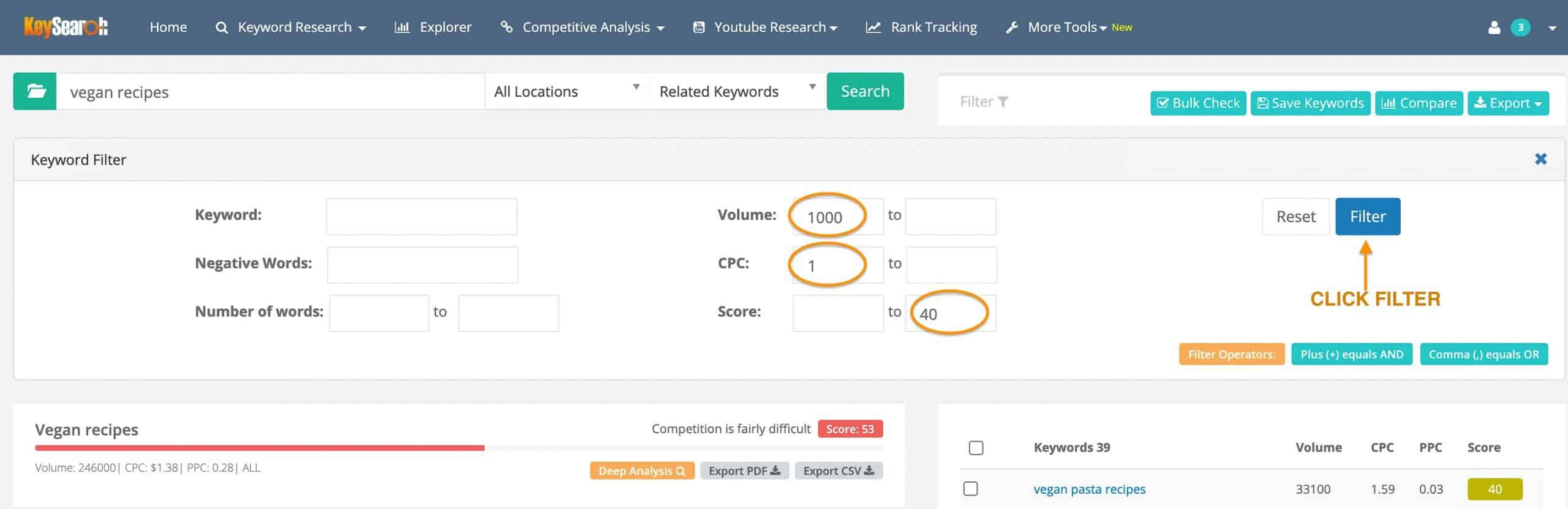how to filter in keysearch