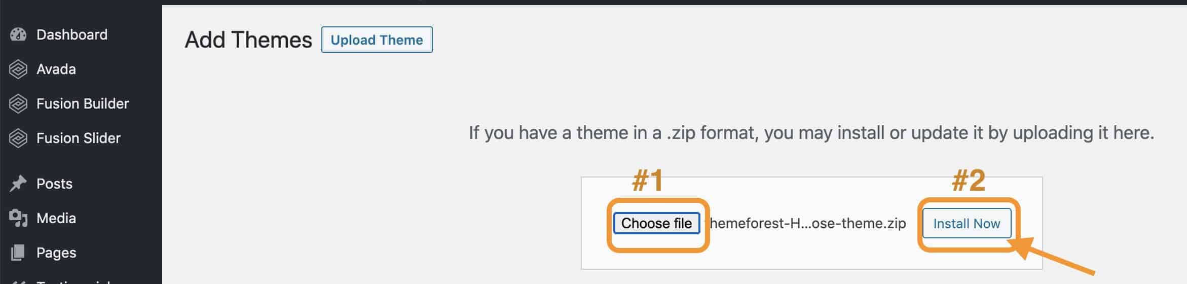 how to upload theme