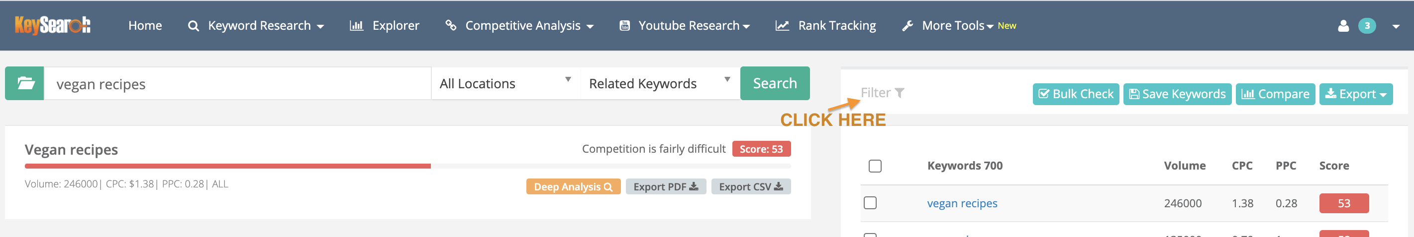 keysearch filter and competition