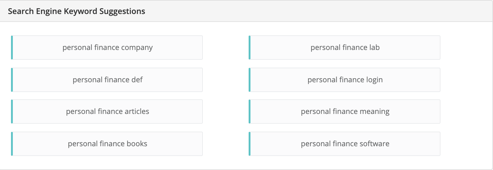 personal finance niche related keywords