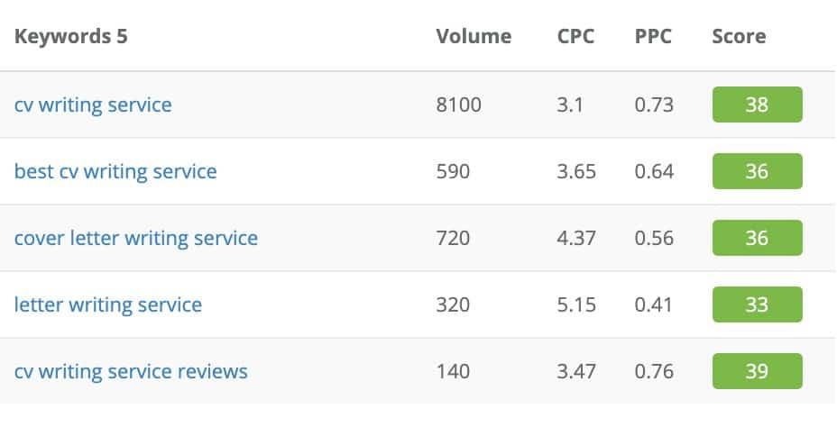 resume services niche topics
