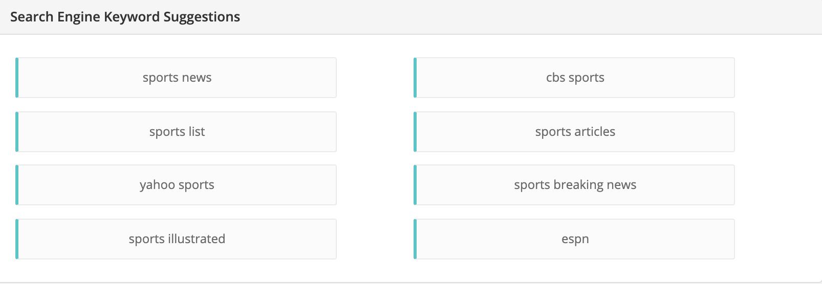 sport niche related keywords
