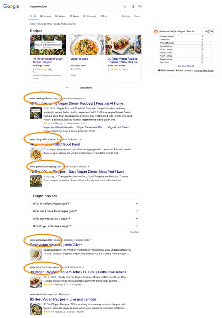 vegan recipes search