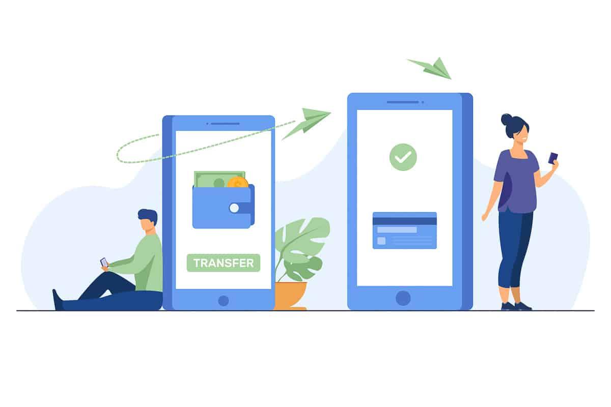 Man transferring money to woman via smartphone