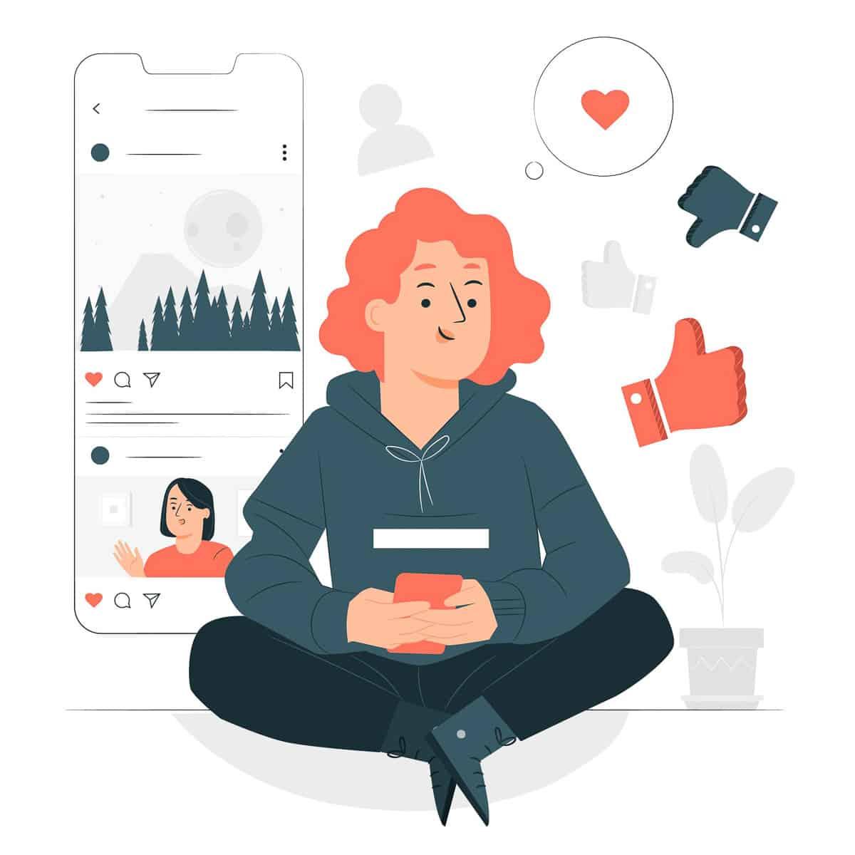 girl using social media platforms