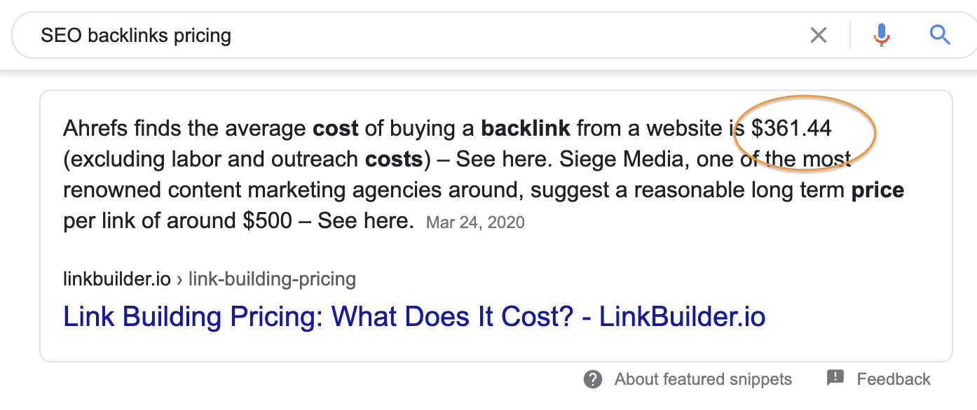 SEO: link building google price