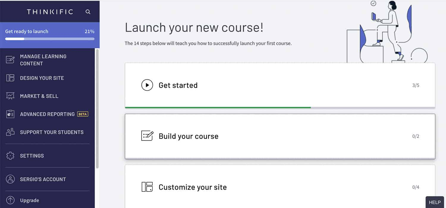 creating your first course in Thinkific