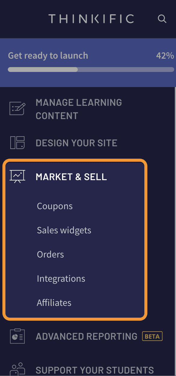 market and sell course menu