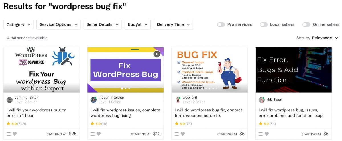 WP bug fixes fiverr