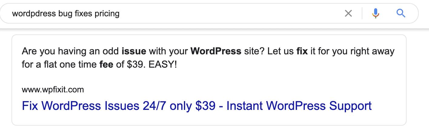 WP bug fixes google