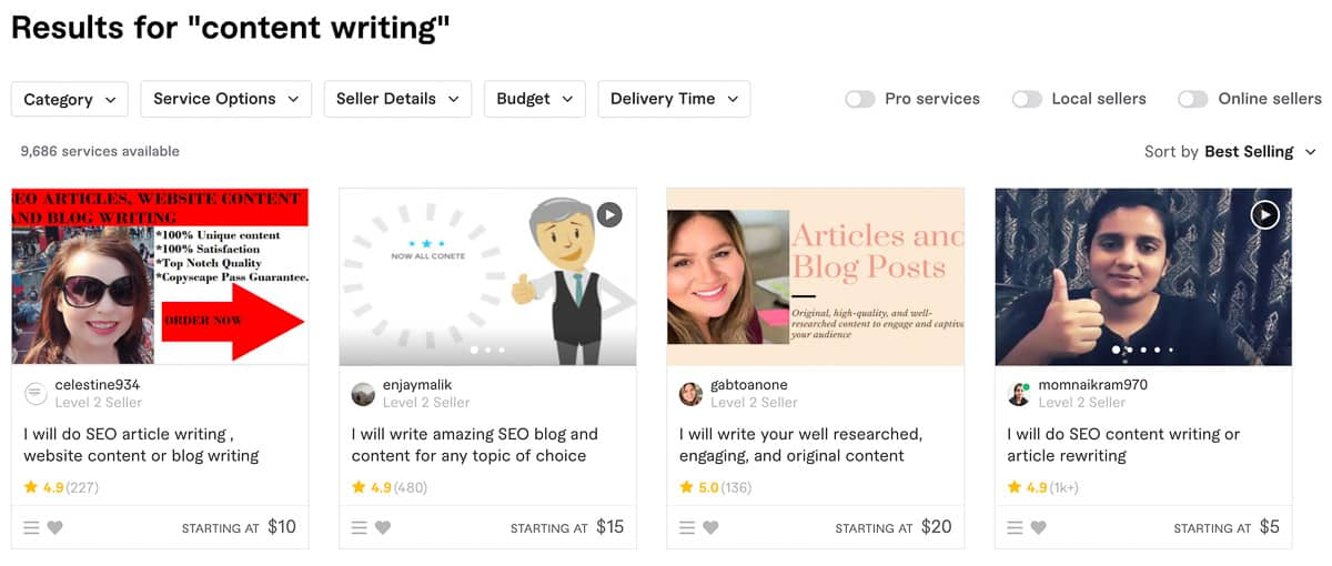 content writing fiverr