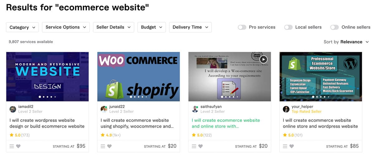 ecommerce website fiverr