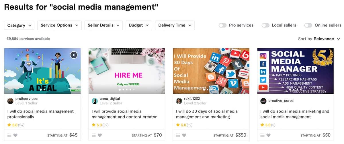 social media management fiverr