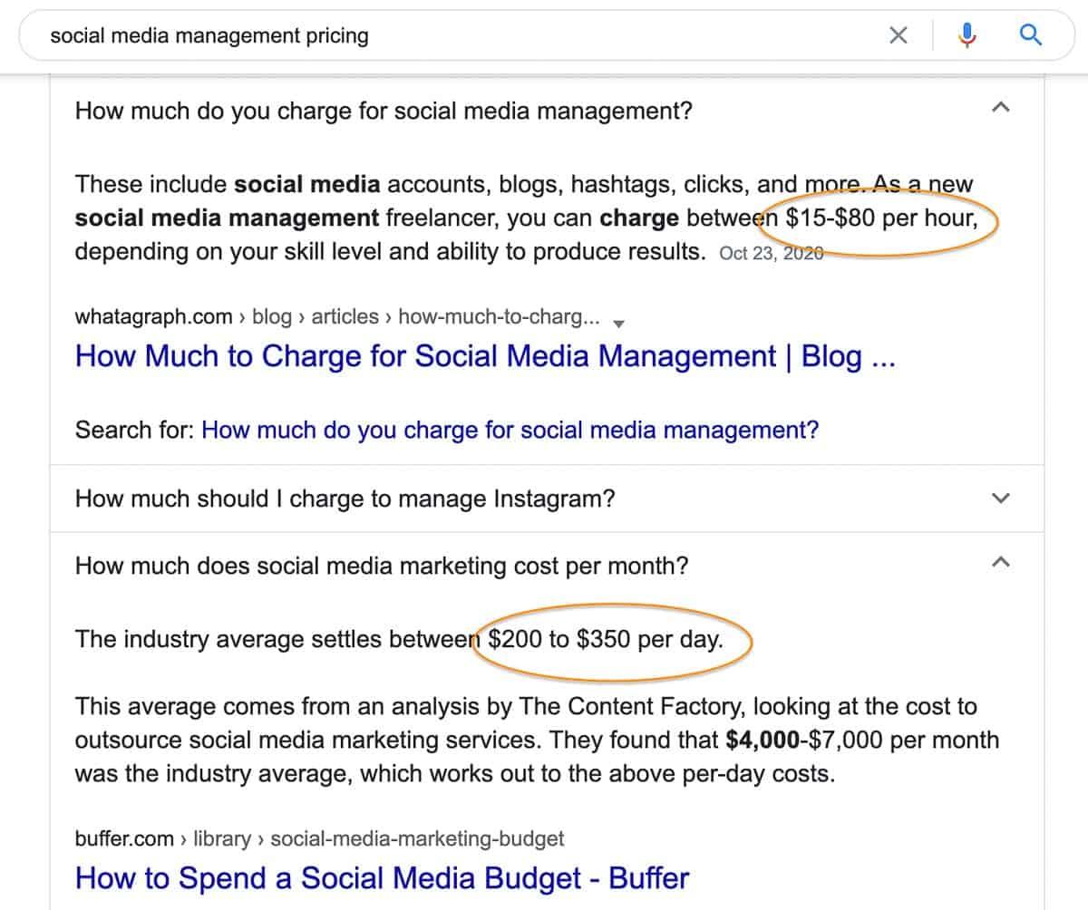 social media management price google