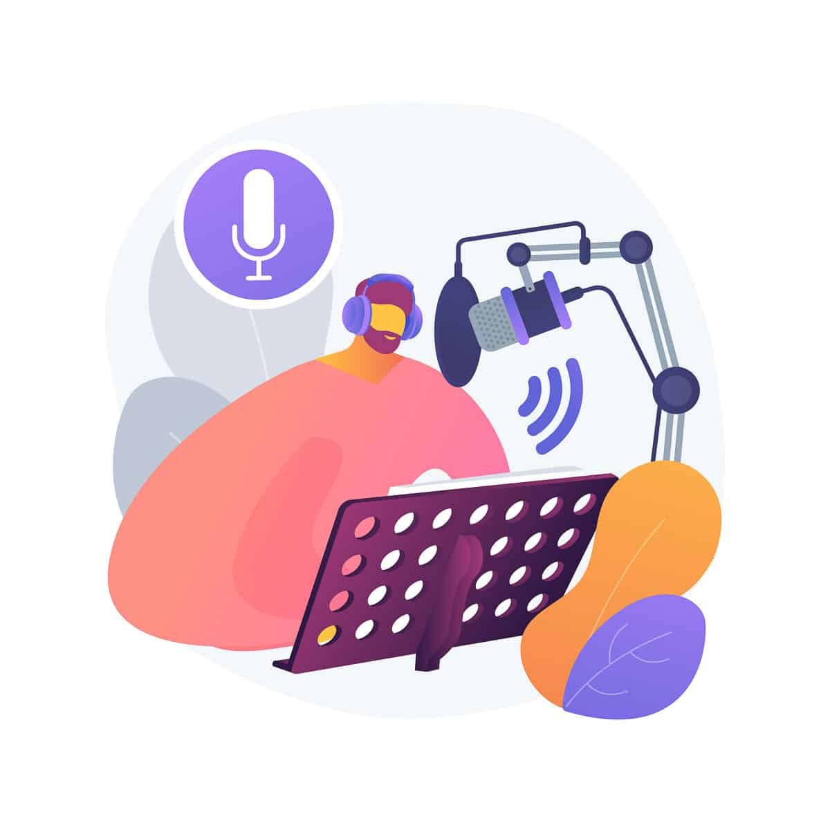 Voice over services abstract concept vector illustration. Voice over recording studio, audio and video production services, narration artist, advertising agency, text to speech abstract metaphor.