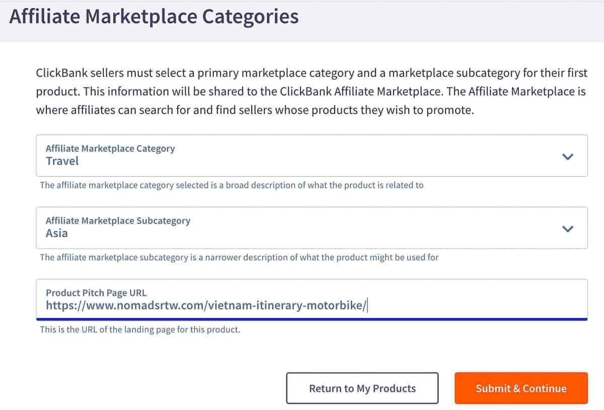affiliate marketplace categories