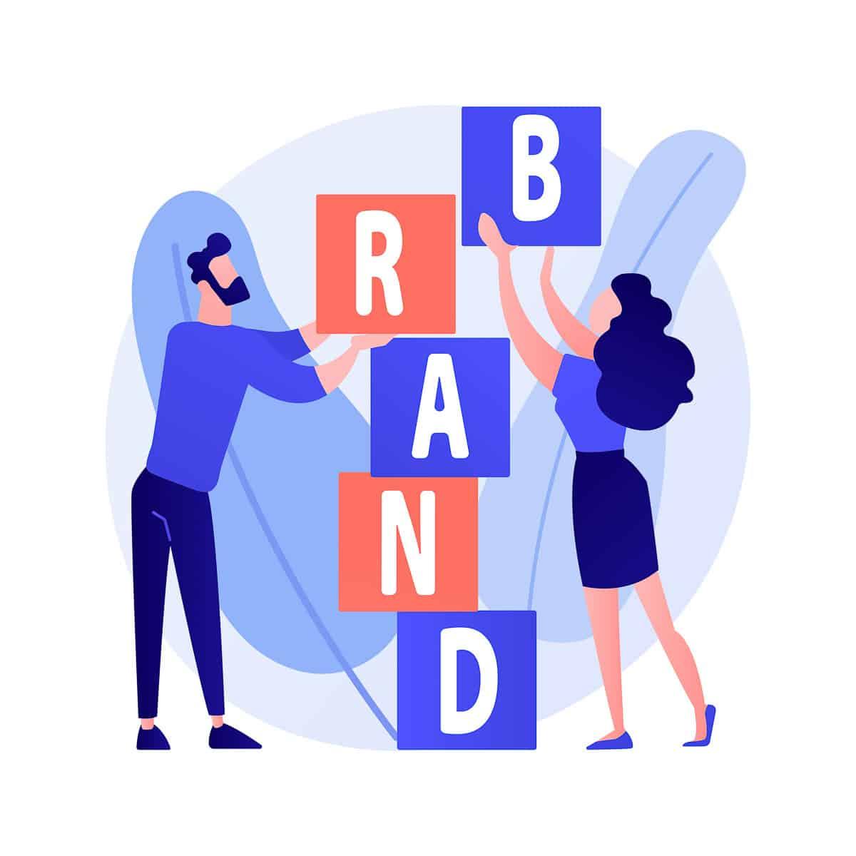 Product brand building vector concept metaphor.