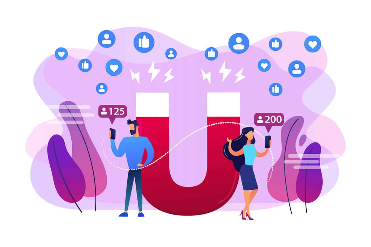 Attracting followers concept vector illustration