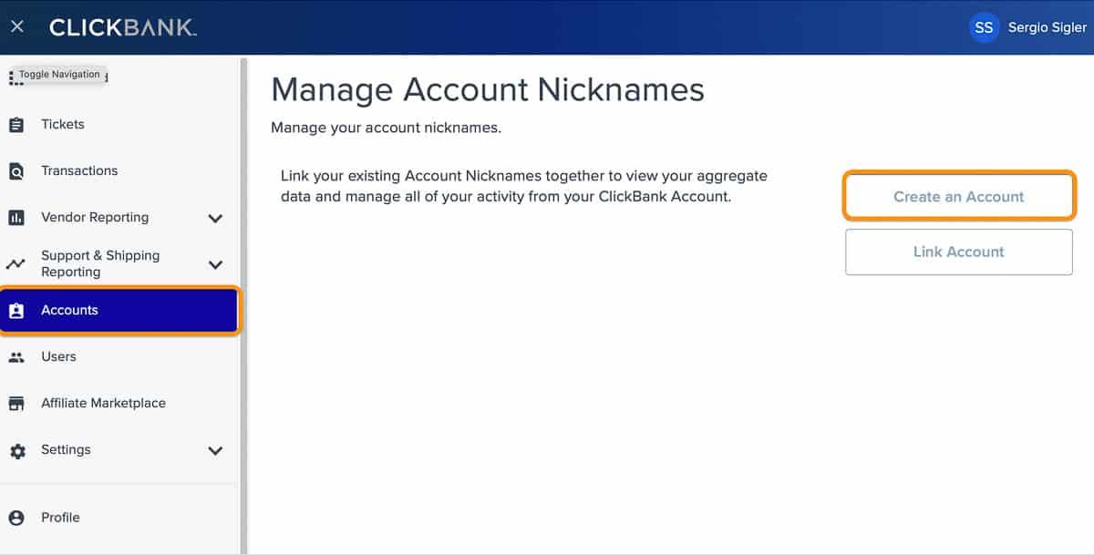 create vendor account
