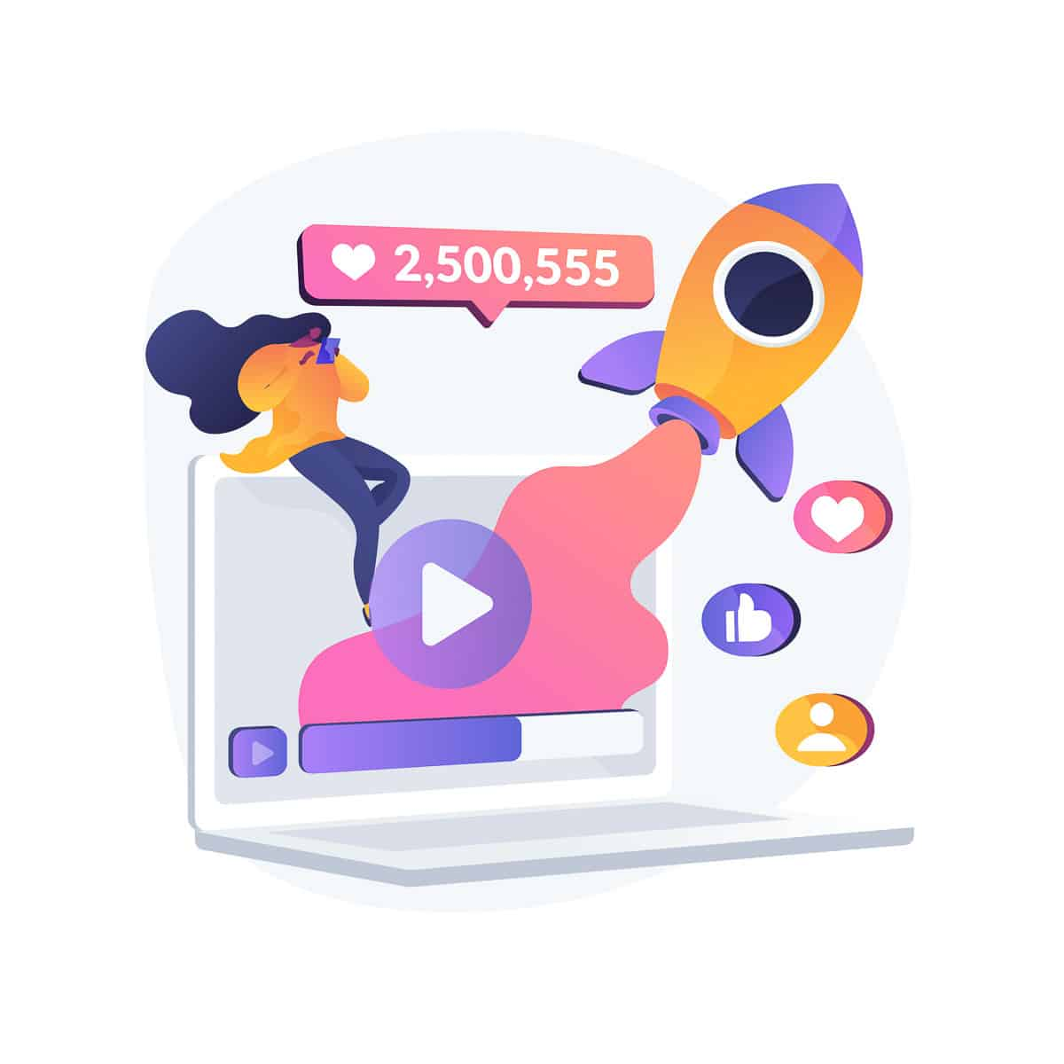 Viral content abstract concept vector illustration.