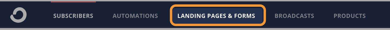 landing pages top menu
