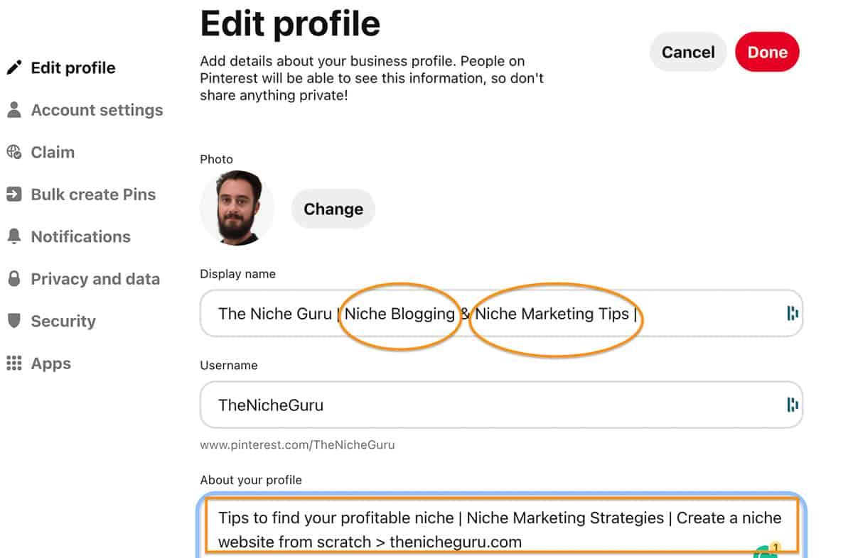 Pinterest profile keywords