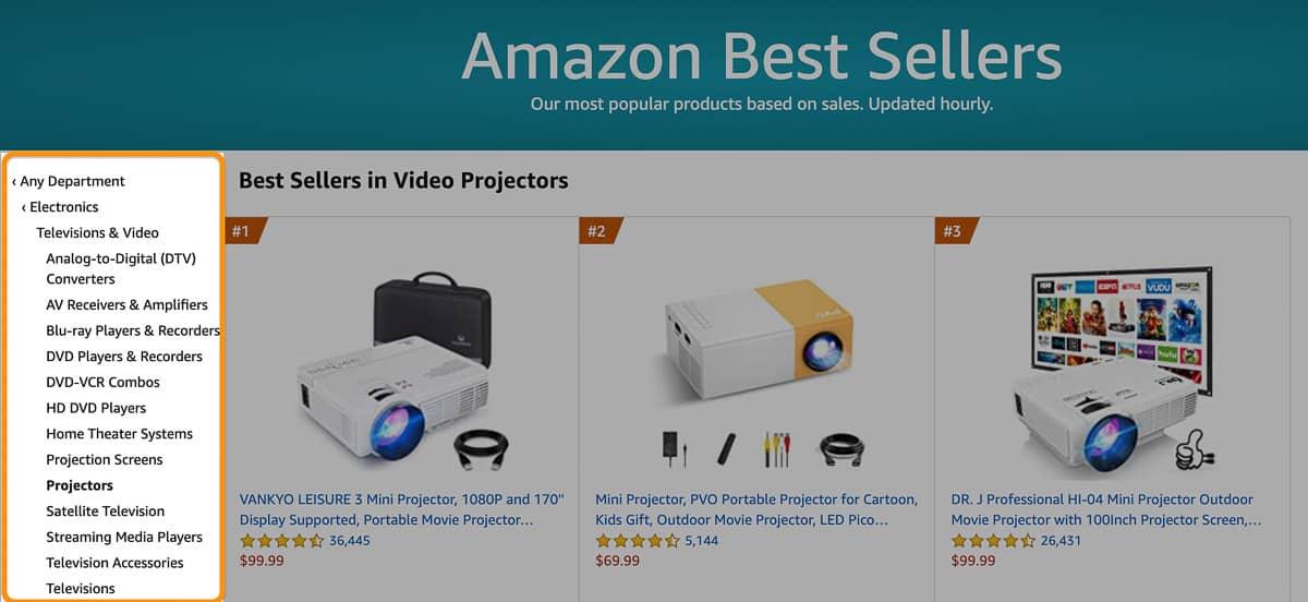 amazon best seller categories