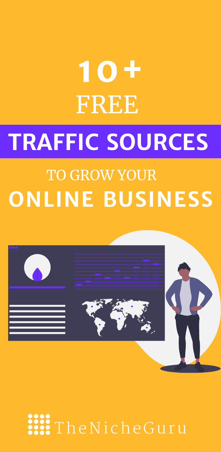 10+ free traffic sources that will drive more visitors to your online business. #TrafficSources #BloggingTips #MoreTraffic