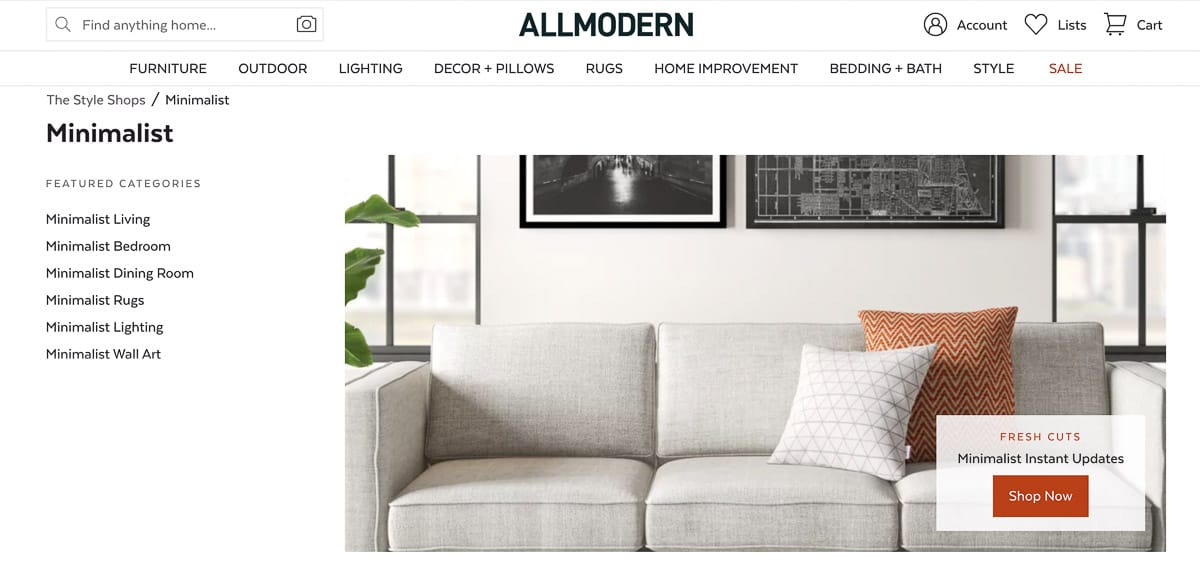 minimalist decor website