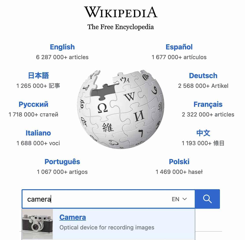 camera in wikipedia