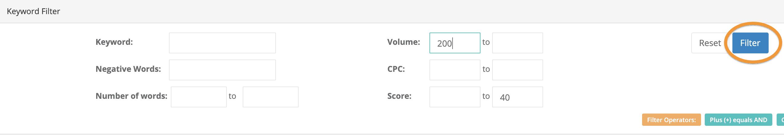 keyword filter values