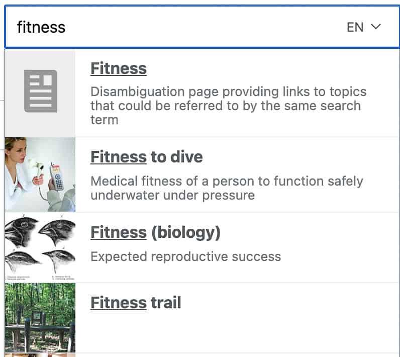 fitness in wikipedia