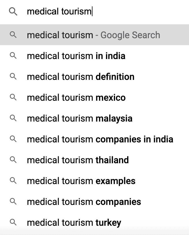 medical tourism google suggest