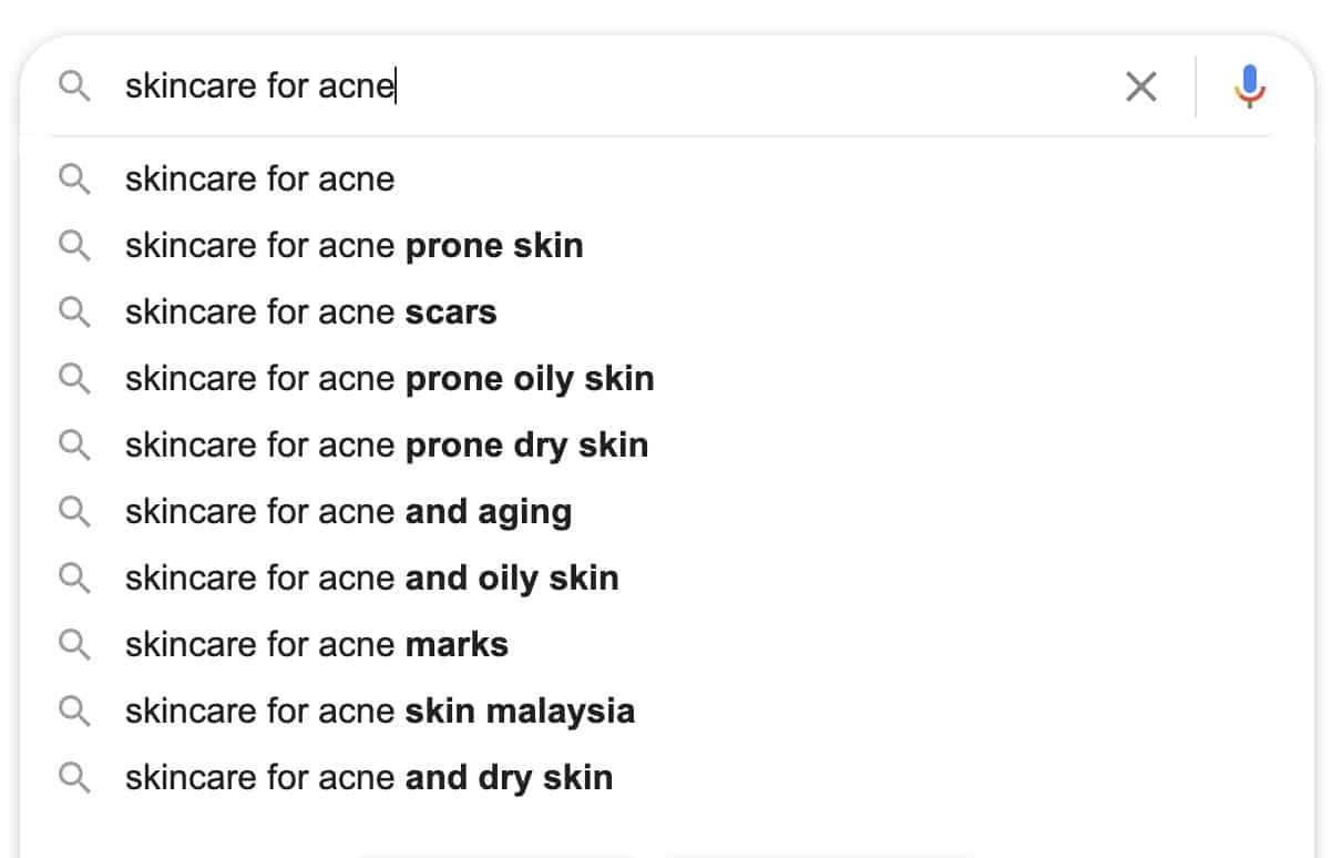 skincare for keywords