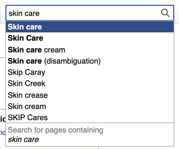skin care in wikipedia