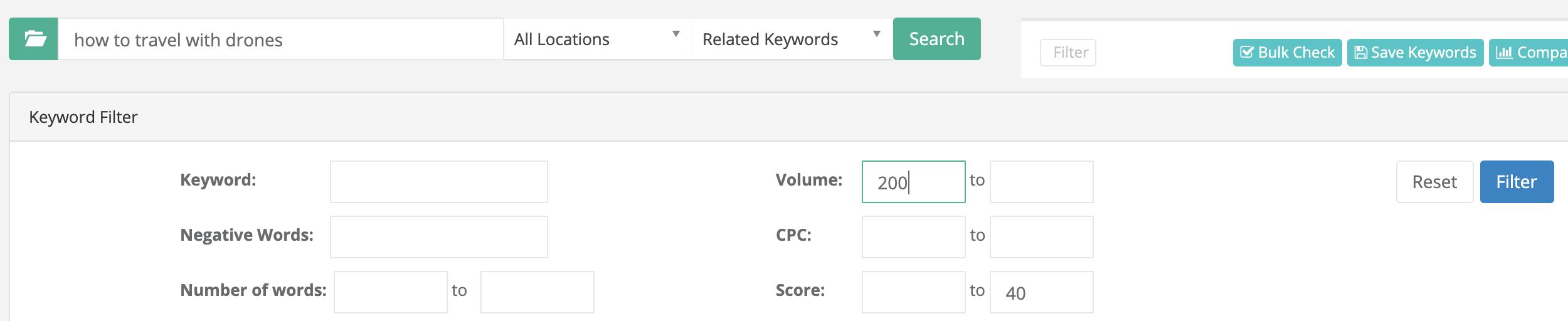 keyword filtering