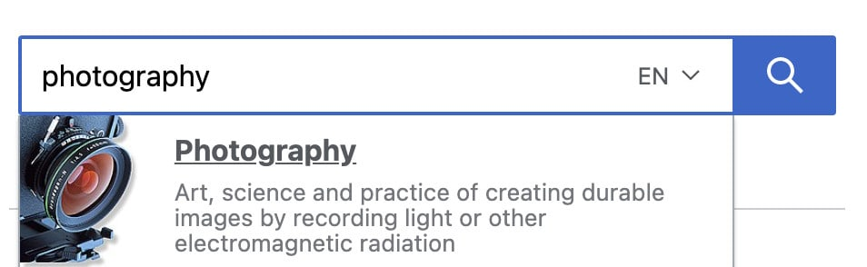 photography in wikipedia