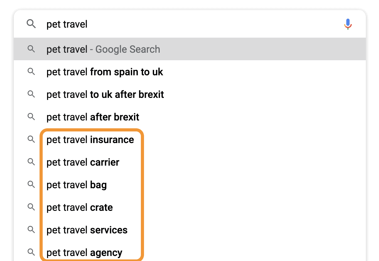 google search ideas