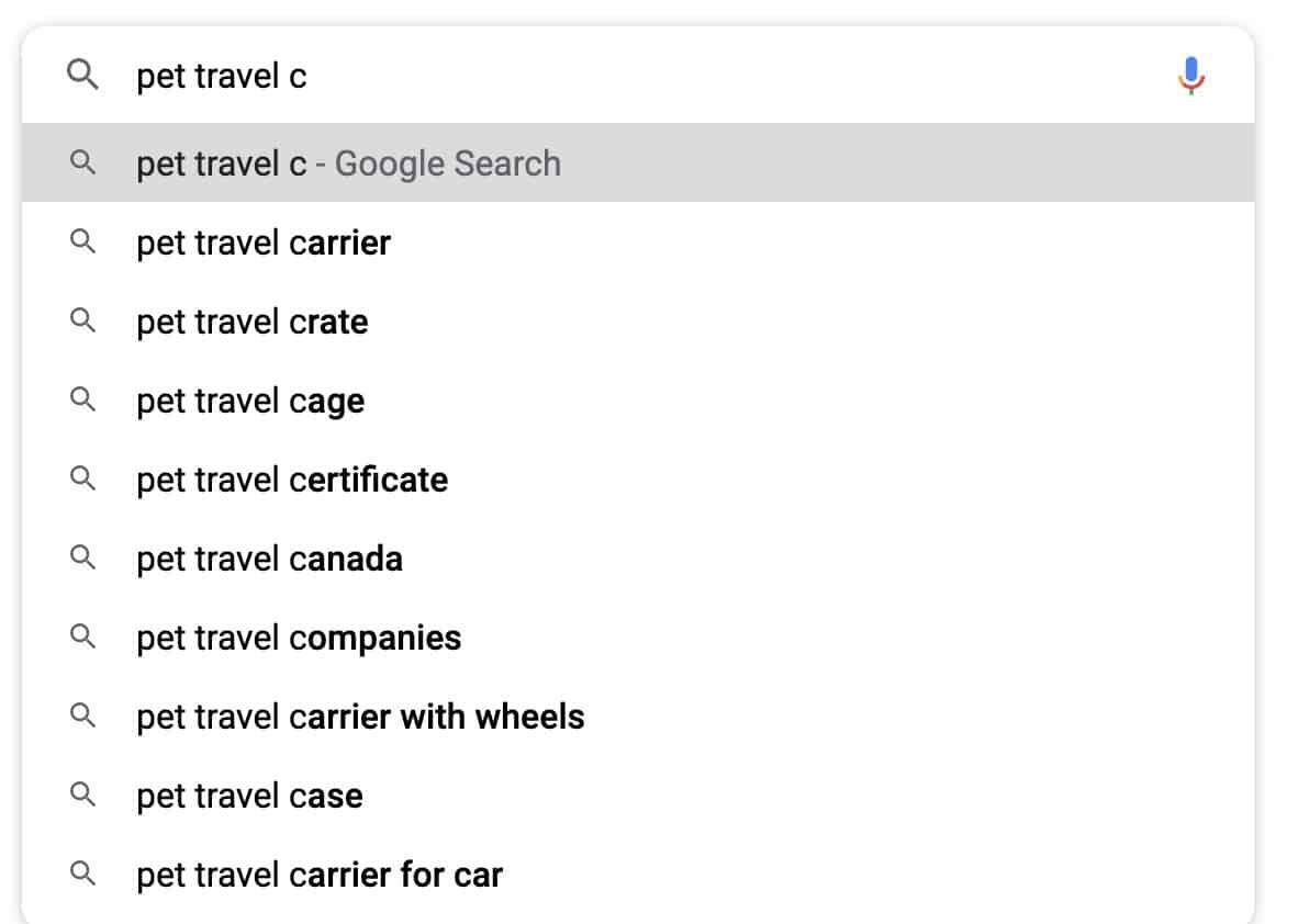google suggest ideas