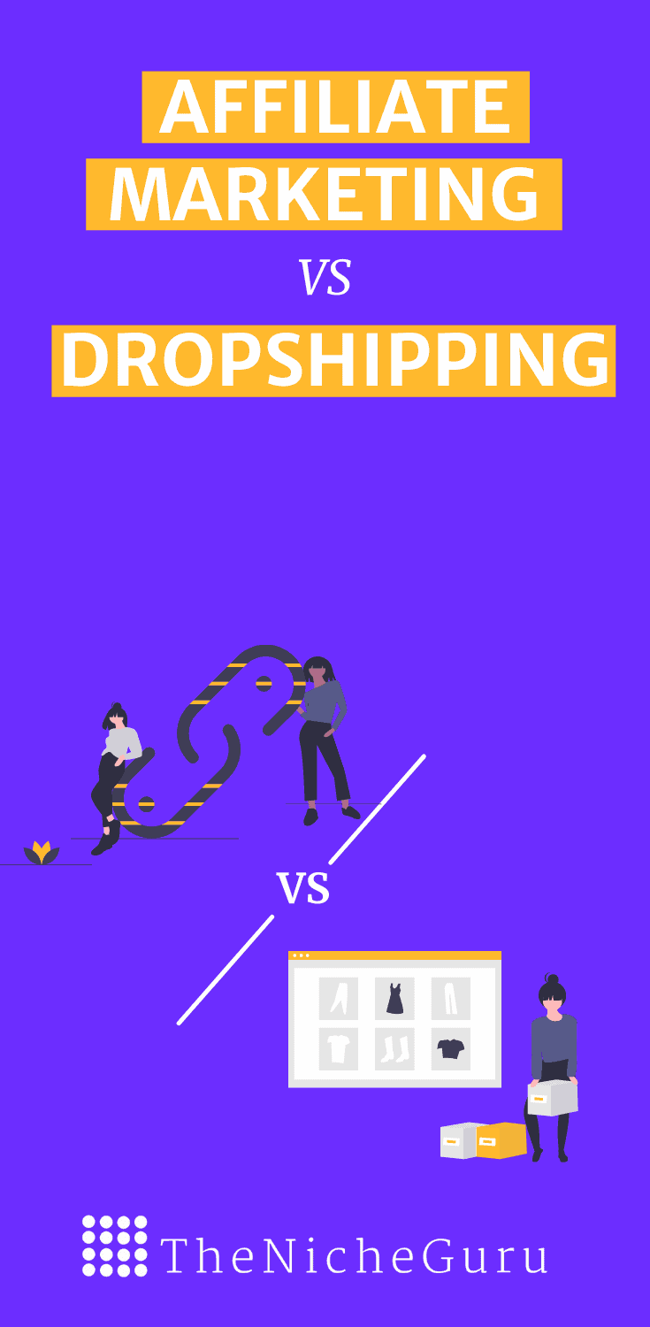 Learn the differences between affiliate marketing vs dropshipping and which business model can help you make money online with and without a website #Dropshipping #AffiliateMarketing #DigitalMarketing #MakingMoneyOnline #OnlineMarketing