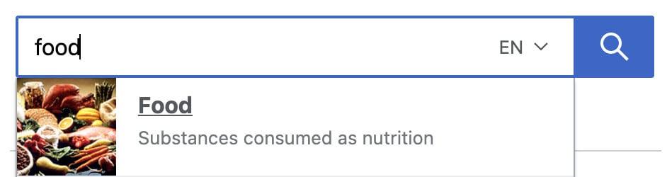 food search in Wikipedia