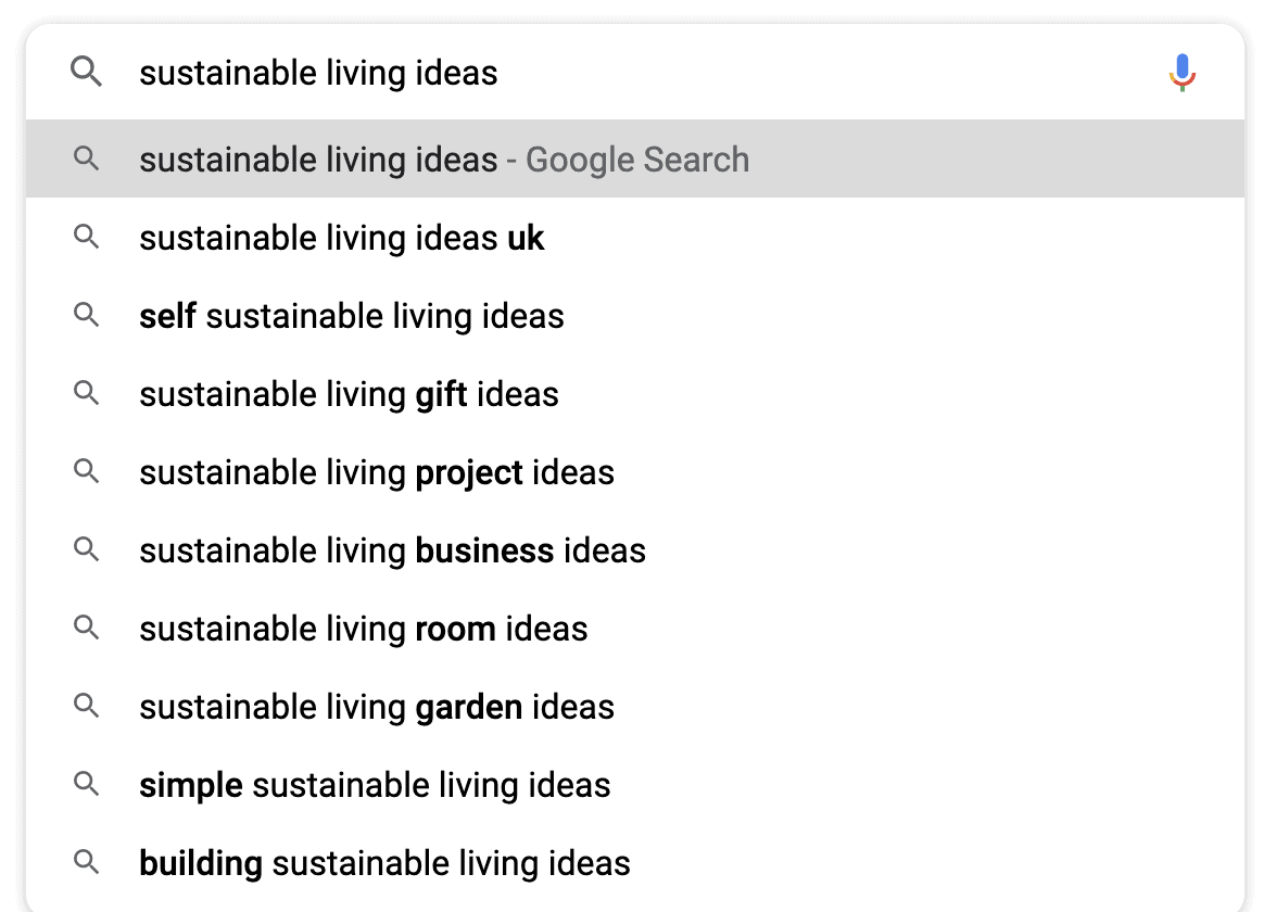 sustainable living google suggest