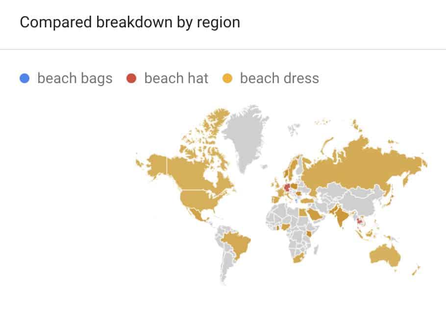 beachwear by regions