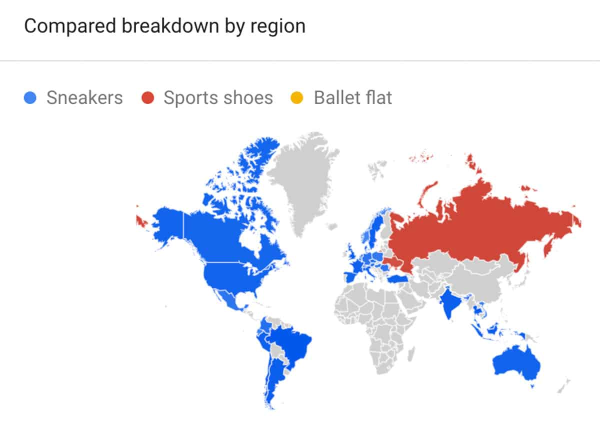 shoes trend by location